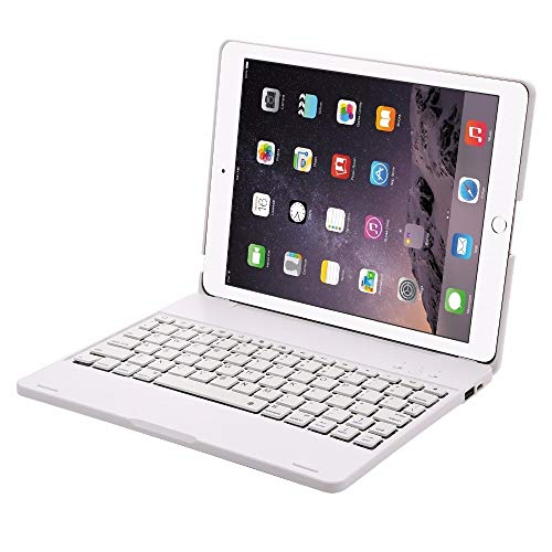 QiuKui Tab Cover For iPad 2 3 4 New 9.7'', ABS Keyboard Case Bluetooth Wireless Keyboard Case for iPad 2 iPad 3 iPad 4 (Color : White)