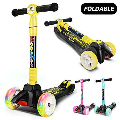 curious kid Kick Scooter for Kids with Extra Wide Flashing PU Wheels,Height Adjustable,Foldable Kids Scooter, Lean to Steer Best Gifts for Children 2-14 Years Old(Yellow)