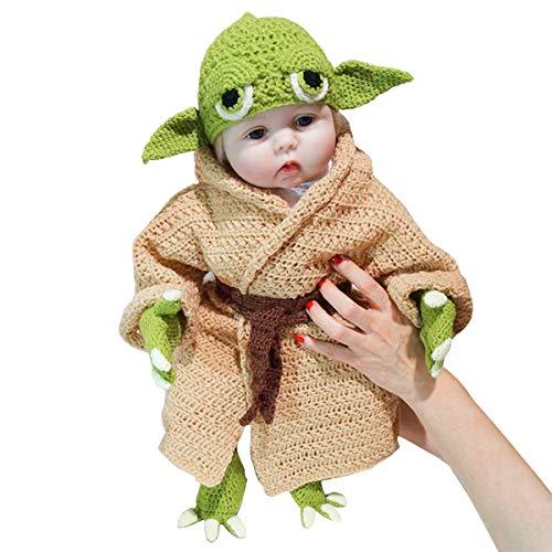 Disfraz Infantil de bebé Yoda 5 Piezas Traje Tejido a Mano Novedad niño Yoda Disfraz de Halloween Cosplay para 3-6 Meses bebé niño niña