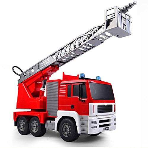 Knmbmg Simulated Electric Fire Truck Model Remote Control Water Spray Ladder Fire Rescue Engineering Workbench RC Anti-Fall Crash Car 660 Degree Rotation Kids Boys Best Gift