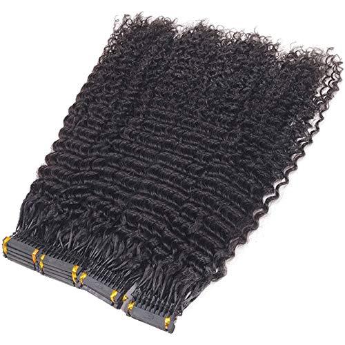 Extensions 6D Cheveux Humains,Extensions De Cheveux Non Marquantes Pour Les Cheveux Des Femmes Deuxième Génération (5 Paquets) Pour Cosplay (10 Rangées),Noir,20inch