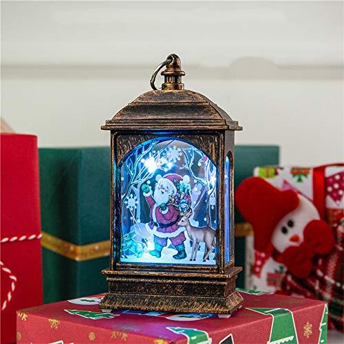 Wankd Tafellamp, kerstdecoratie, kerstverlichting, LED-lantaarn met verlichting, lichtketting, tafellamp, 3D-effect, batterij en stroom, wit