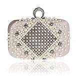 Damen Handtasche damentaschen Schultertasche Messenger-Bags Ring Strass Tasche handgemachte Perlen Tasche Perle Tasche Handtaschen Clutch -