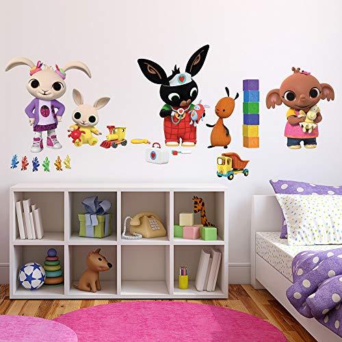 B_R0005 - Adhesivos murales efecto tela Bing Cartoon Flop Amma Pando Padget sobre la decoración de la pared del dormitorio de los niños