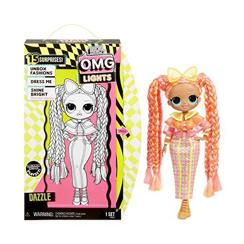 L.O.L. Surprise! 565185E7C O.M.G. Fashion Doll Lights Series Dazzle, Anziehpuppe mit Haaren & Neonlicht-Effekt und 15 Überraschungen, 27 cm