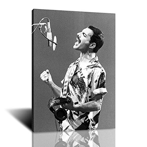 Freddie Mercury Singer Background Wallpaper Wall Art Canvas Painting Poster Print Pictures for Living Room Home Interior Decoration 50x70cm Framed (colorful,50x70cm-framed)