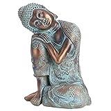 Statue de Bouddha Sculpture Résine Artisanat Imitation Bronze Statue Bouddha Endormi Sud-Est Asiatique Style Statue Bouddha Coloré Décoration Maison et Jardin