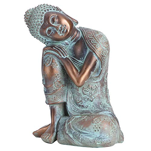 Jenngaoo Zen-Like Sleeping Buddha Statue,9.1Inches High Antique Resin Buddha Statue Peaceful Decoration Home Indoor and Outdoor Garden Terrace Desk Porch Paddock Art Decoration