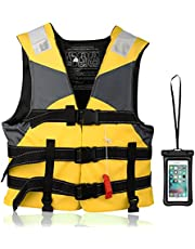 ライフジャケット O-buddy 救命胴衣+スマホ防水ケース 360度反射帯付き 大人用/子供用/男女兼用 呼び笛付き 多ポケット 高い浮力材付き 釣り 漂流 海水浴 災害用 緊急用