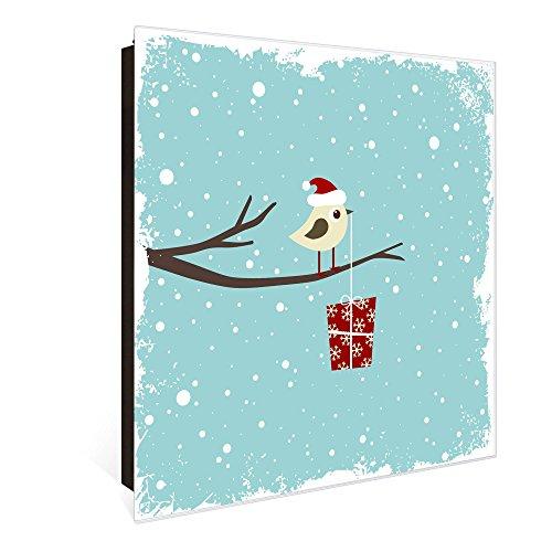 banjado Großer Schlüsselkasten aus Glas | Schlüsselbox mit 50 Haken | beschreibbare Glastür Scharnier Links | als Magnettafel nutzbar | Schlüsselaufbewahrung 30cm x 30cm | Motiv Weihnachten