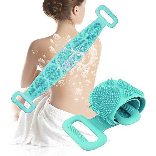 Spazzola Bagno Schiena, Jecxep Silicone Esfoliante Bagno Strap per uomo Donna, Massaggio corpo Facile da pulire (verde)