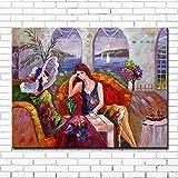 KWzEQ Imprimir Personaje de Dibujos Animados café Dama sobre Lienzo Lienzo Pintura al óleo café Arte de pared50X70cmPintura sin Marco