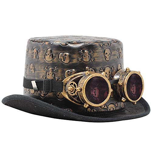 Victorian Steampunk Top Hat w/Classic Goggles Vintage Accessories Set for Adult Halloween Dress Up Brown