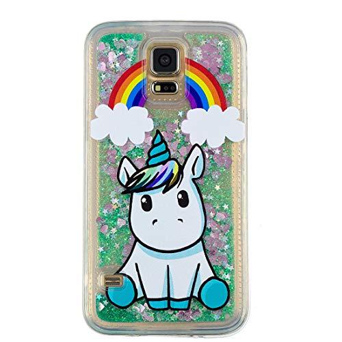 Galaxy S5 Carcasa, 3D del brillo líquido en movimiento personalizada Clear Gel de silicona transparente de TPU resistente a choque de chicas lindas mujeres Funda Para Samsung S5 Nubes Unicornio