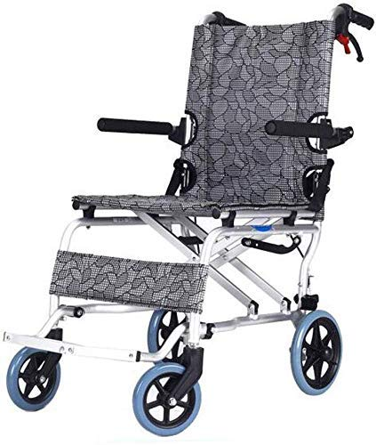 YASE-king Aluminum Alloy Small Stroller Folding Lightweight Ultra Light Old Man Easy Travel Wheelchair (Color : Classic mesh Gray, Size : 90x52x70cm)