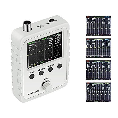OurLeeme Osciloscopio digital, kit de bricolaje, dispositivo de extracción de soldadura electrónica de tamaño de bolsillo, con parámetro de forma de onda, pantalla digital 0-200 KHz
