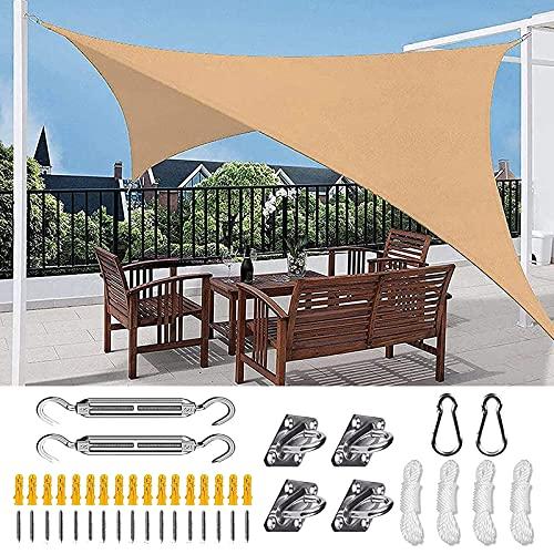 Toldo Vela de Sombra Rectangular con Kit de Fijación, Protección Rayos UV y Transpirable Toldo Vela de Sombra, 95% de Protección UV, para Patio, Exteriores, Jardín, Balcón y Terraza, Beige,5X5m