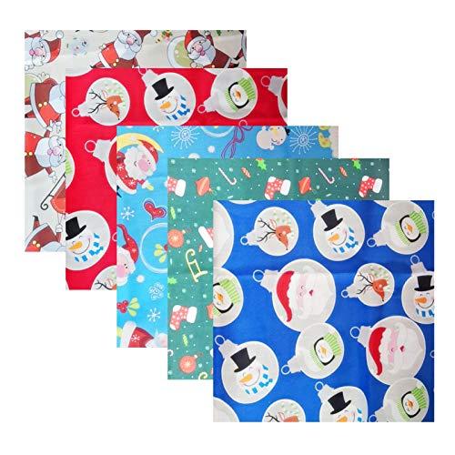 5 piezas de algodón por el metro de Navidad hecho a mano con diseño de cabeza de calicó para bricolaje, decoración de combinación, tela de retazos nórdicos, patrón liso, tela de algodón floral pequeño