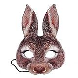 Amosfun Kaninchen Halbe Gesichtsmaske Hasen Ohr Maske für Ostern Karneval Party Kaninchen Kostüm (Braun)