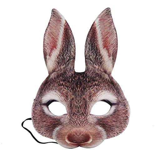 Amosfun - Mscara de Conejo para Disfraz de Pascua, Carnaval, Fiesta, Conejo (marrn)