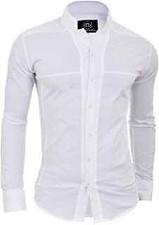 D&R Fashion Mens Korean Collar Shirt Long Sleeve Collarless Formal Holiday Comfort Slim