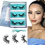 Labeh 3D Mink Eyelashes, 18mm to 20mm Middle Long Fake Eyelashes 3 Pairs Natural 100% Siberian Real Mink Fur Eyelashes Reusable Handmade False Eyelashes