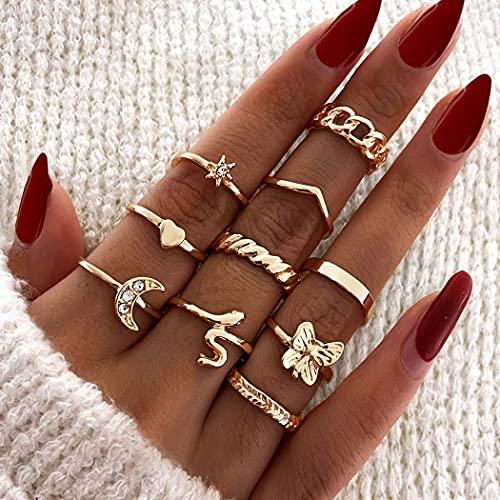 Ushiny Anillos de cristal para nudillos, anillos de dedo con junta de luna y estrella, anillo de serpiente, anillo de mariposa, joyería para mujeres y niñas (10 piezas) (oro)
