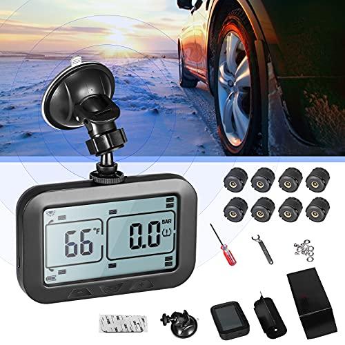 Kacsoo TPMS Sistema de monitoreo de presión de neumáticos, Monitor de neumáticos de Coche con 8 sensores externos y Gran pantalla LCD, Doble uso solar y USB, 7 alarmas de voz, para Coches SUV Camiones