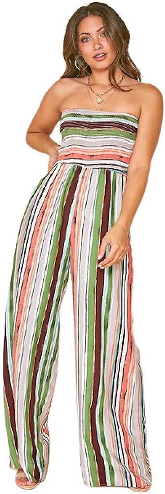 THFB Women's Stripe Jumpsuit お得なキャンペーンを実施中 Romper Smocked 低価格