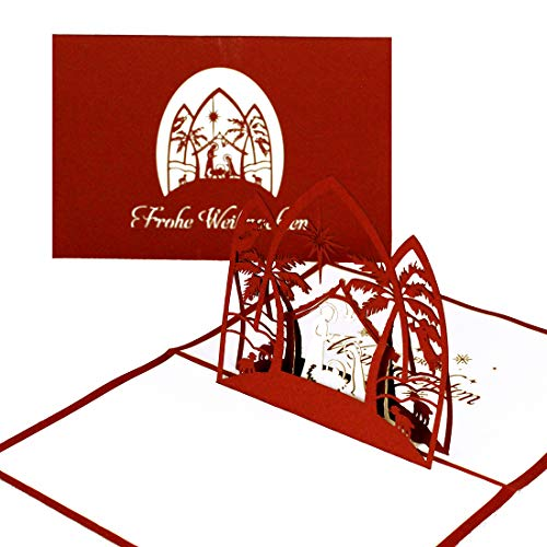 Biglietto Di Natale Pop Up 3D, Motivo: Presepe, Bordeaux