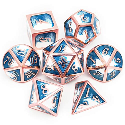 Haxtec Copper Blue White Metal DND Dice Set D&D Dice for Dungeons and Dragons RPG Games-Ice Dragon Bait