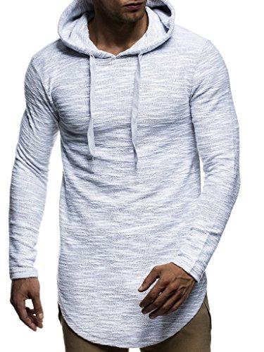Leif Nelson Herren Kapuzenpullover Slim Fit Baumwolle-Anteil Basic weißer Männer Hoodie Kapuzenshirt Pulli Langarm Jungen schwarzer Pullover-Shirt mit Kapuze LN6300 Grau Large