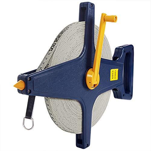 Deuba Rollbandmaß 100m/330 Ft Beidseitig markiert Fiberglas Öse Maßband Bandmaß Messband Rollmeter Rollmaßband