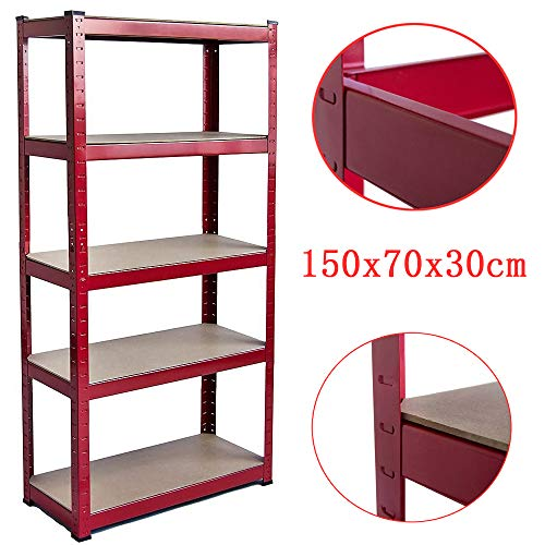 150x70x30cm 875KG Capacity Stability and is not Easy to deform Garage Shed Storage Shelving Unit 175kg per Shelf,875kgs Capacity Garage shed Storage Shelving