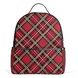 Mochila de cuadros rojos para mujeres, adolescentes, niñas, bolso de moda, bolsa de libros, para viajes, universidad, casual, para niños y niñas