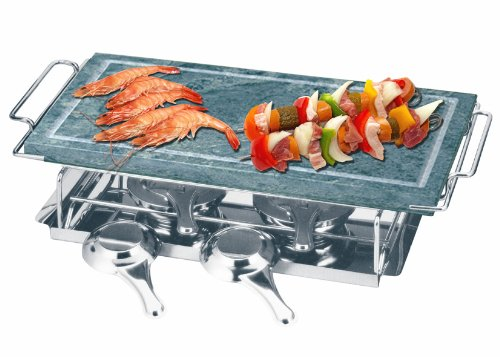 Professional Cooking Kaufgut 100134–Grill Set Speckstein 19x 37cm mit Gestell Edelstahl