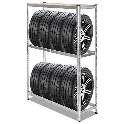 BMOT 1x Reifenregal verzinkt Lagerregal Reifenständer, 120 x 40 x 180 cm, Traglast 265kg, 8 Reifen Reifenständer Werkstatt Steckregal Regal verstellbar Höhe