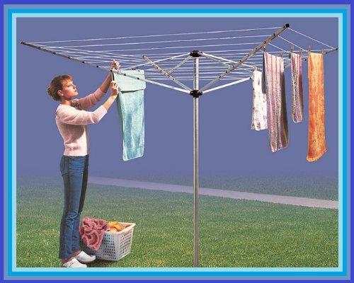 Giratorio de 4 brazos 50 m tender ropa de aluminio tendedero de nuevo para la ropa sucia de jardín seco
