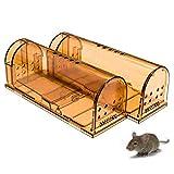 Jennary Lot de 2 pièges à souris vivants - Humane - Réutilisables - Pour petits rongeurs, campagnols, hamsters, taupes - Intérieur et extérieur - Sécurité pour enfants et animaux domestiques (marron)