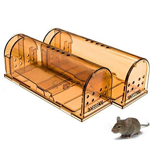 Jennary Mausefalle Lebend 2 Stück Humane Wiederverwendbar Lebendfalle Kastenfallen für kleine Nagetiere/Wühlmäuse/Hamster/Maulwürfe, Innen- / Außenbereich, Sicherheit für Kinder/Haustiere (Braun)