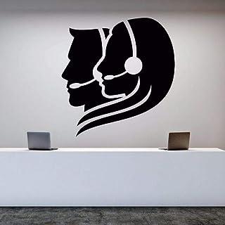 Sticker mural vinyle amovible Call Center Operator Sticker mural employé de bureau autocollants chambre décoration Art Mur...
