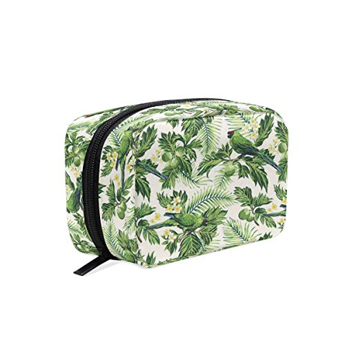 CONICIXI Stylish Daily Toiletry Bag Exotic Tropic Pattern With Palm Leaves Breadfruits Plumeria Flowers And Parrots Makeup Accessories Organizer Cosmetic Bags Travel Storage Pouch Handbag Portable