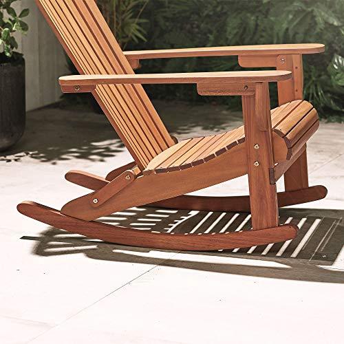 VonHaus VonHaus Adirondack-Schaukelstuhl - Outdoor Gartenmöbel aus Acacia Hartholz mit geölter Oberfläche