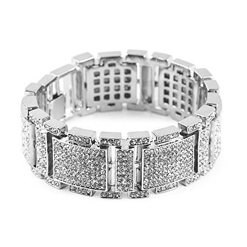 MCSAYS Mens Fashion Hip Hop Rhinestone CZ Crystal Bling Bling Bracelet Iced Out (Silver)