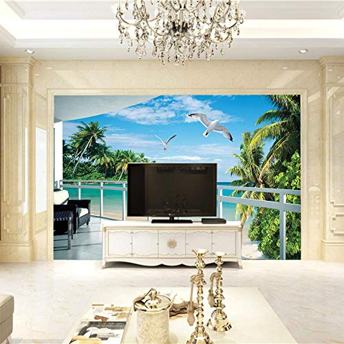3D Tapete Moderne Zimmer Mit Meerblick Vliestapete 3D Wallpaper Moderne Wanddeko Wandbilder-430X300Cm