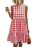PRETTYGARDEN Women's Casual Plaid Sleeveless Ruffle Sundress Round Neck A-Line Pleated Mini Short T Shirt Dress with Pockets Red