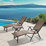Crestlive Products Aluminum Beach Yard Pool Folding Recliner Adjustable Chaise Lounge Chair and Table Set All Weather for Outdoor Indoor, Brown Frame (Brown & Black)
