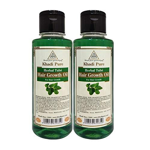 Khadi Pure Herbal Tulsi Hair Growth Oil, 210 ml (Pack of 2)
