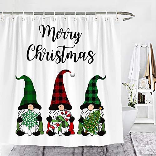 Wencal Duschvorhang mit weihnachtlichen Zwergen & Schneeflocken & Baum, Badezimmer-Dekor mit Haken, grün & rot, 183 x 183 cm