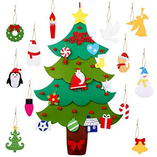 Legendog Albero di Natale in Feltro, 3,2 Ft Albero di Natale Fai-da-Te/Albero di Natale in Feltro per Bambini Decorare Il Capodanno di Natale, Albero Natale con Ornamenti Natalizi da 24 Pezzi